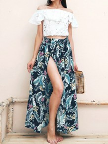 Navy Blue Tropical Floral Print Sashes Draped Slit High Waisted Bohemian Long Skirt
