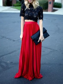Red Patchwork Pleated High Waisted Bohemian Skirt