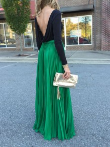 Green Patchwork Pleated High Waisted Bohemian Draped Flowy Prom Maxi Skirt