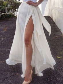 White Pleated Thigh High Side Slits Elastic Waist Fluffy Puffy Tulle Beach Skirt