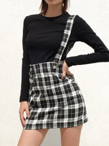 Black Plaid High Waisted Zipper Skater Straps Casual Caged Suspender Braces Skirt