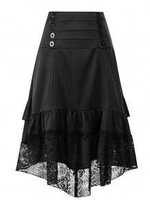 Black Patchwork Lace Irregular Cascading Ruffle Draped High-Low Double Breasted High Waisted Going out Skirt