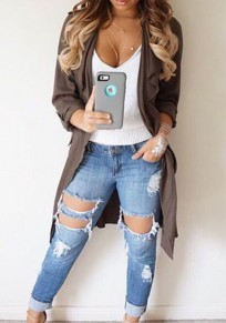 Light Blue Hollow-out Buttons Low-rise Casual Long Jeans