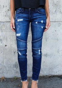 Dark Blue Pockets Zipper Mid-rise Long Jeans