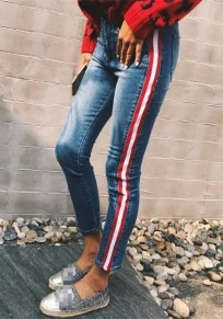 Blue Striped Buttons Pockets High Waisted Boyfriend Casual Long Jeans