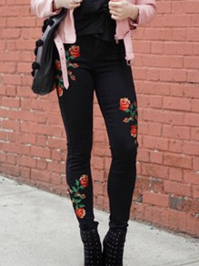 Black Floral Rose Embroidery Zipper High Waisted Long Jeans