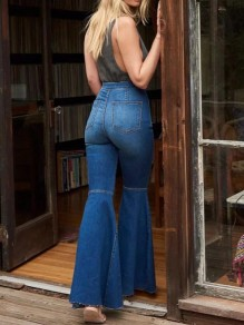 Dark Blue Pockets Buttons High Waisted Mom Flare Vintage Bell Bottom Long Flare Jeans