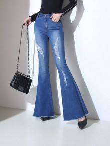 Dark Blue Cut Out Pockets High Waisted Fashion Long Bell Bottom Jeans