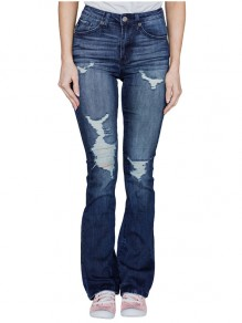 Blue Distressed Ripped Buttons Pockets Denim High Waisted Bell Bottom Flares Bootcut Long Jean