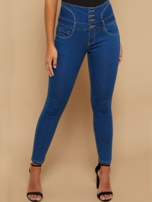 Blue Buttons Pockets Drawstring High Waisted Long Jeans