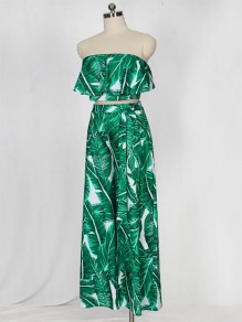 Green Palm Leaves Print Ruffle Off Shoulder Two Piece High Waisted Elegant Tropical Bohemian Beach Long Jumpsuit