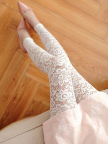 White Patchwork Lace Hollow-out Elastic Waist Nine's Legging