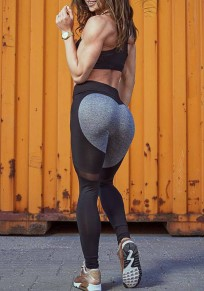 Black-Grey Patchwork Grenadine Heart Print High Waisted Stretch Yoga Slim Sports Legging