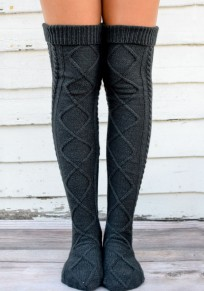 Dark Grey Geometric Irregular Short Fashion Boot Socks Women Legging