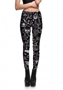 Black-White Skull Print Elastic Waist High Waisted Halloween Fashion Long Legging
