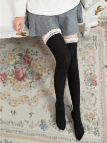 Black Patchwork Lace Slim Fashion Boot Socks