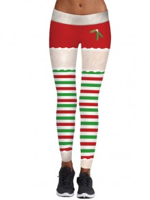 White Red Striped Santa Pants Yoga Christmas Sports Long Legging