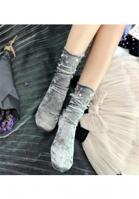 Grey Patchwork Pearl Fashion Pleuche Short Socks Women Legging