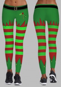 Green Striped Santa Workout Christmas Strech High Waisted Yoga Long Pants Legging