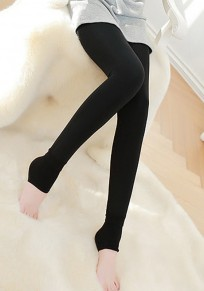 Black Plain Elastic Waist Fashion Thick Long Leggings