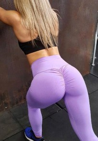 Purple Ruched Hip Panty Botty Pleated Yoga Sport Fashion Sock Legging