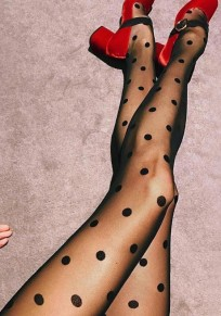Black Polka Dot Print Elastic Waist Fashion Long Leggings