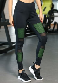 Black-Green Patchwork Grenadine High Waisted Sports Yoga Workout Long Legging