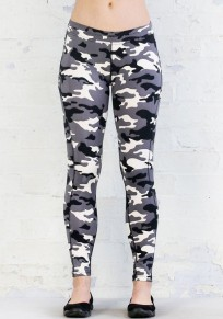 White Camouflage Print Cargo High Waisted Sports Yoga Workout Long Legging