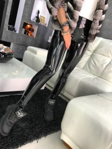 Black Zipper High Waisted Fashion PU Leather Latex Bodycon Party Long Leggings