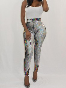 Silver Colorful Sequin High Waisted Sparkly Stretch Casual Clubwear Sports Legging