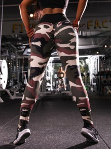 Army Green Camouflage Print Pleated High Waisted Yoga Casual Push Up Long Leggings