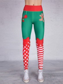 Green Polka Dot Striped Snowman Pockets Bow Print High Waisted Casual Long Leggings