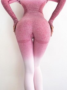 Pink White Gradient Color High Waisted Sports Nine's Legging