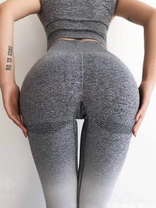 Grey Gradient Color High Waisted Sports Nine's Legging
