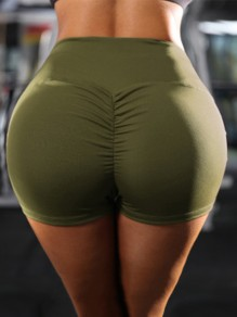 Army Green High Waisted Sports Workout Skinny Push Up Short Legging