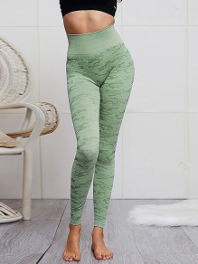 Green Camouflage High Waisted Yoga Sports Skinny Long Legging