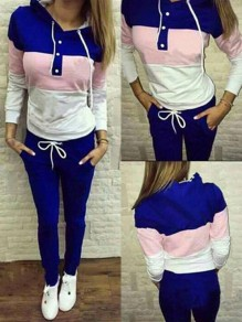 Blue Color Block Drawstring Pockets Buttons 2-in-1 Long Jumpsuit