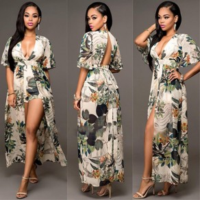 Multicolor Floral Print V-neck Backless Elbow Sleeve Swallowtail Maxi Chiffon Romper with Maxi Overlay