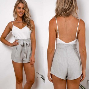 White Patchwork Belt Condole Belt Backless Short Jumpsuit