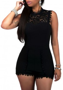 Black Patchwork Lace Hollow-out Zipper Band Collar Plus Size Short Jumpsuit