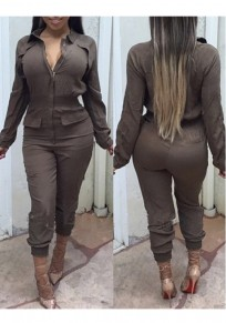Khaki Plain Zipper Turndown Collar High Waisted Casual Long Jumpsuit