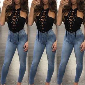 Black Plain Drawstring Hollow-out High Waisted Short Jumpsuit