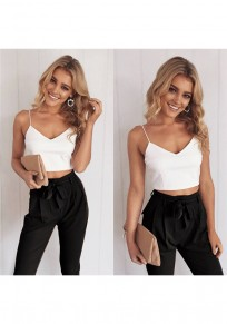 Black Patchwork Condole Belt 2-in-1 Belt Crop Zipper Long Jumpsuit