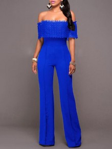 Royal Blue Lace Off Shoulder Zipper Elegant Wedding Prom Long Jumpsuit