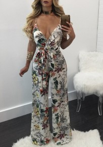 White Floral Print Sashes V-neck Spaghetti Strap Backless High Waisted Long Jumpsuit