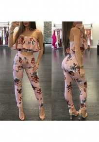 Pink Floral Print Bandeau Ruffle High Waisted Two Piece Long Jumpsuit