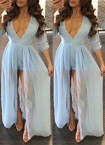Light Blue Cut Out V-neck Backless Chiffon Short Jumpsuit With Maxi Overlay