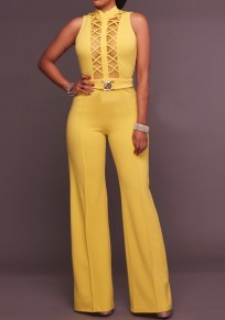 Yellow Patchwork Cut Out Backless High Waisted Wide Leg Palazzo Long Jumpsuit