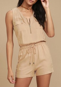Khaki Patchwork 2-in-1 Zipper Pockets Casual Short Jumpsuit