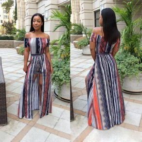 Dark Blue Striped Sashes Backless Off Shoulder Short Jumpsuit With Maxi Overlay